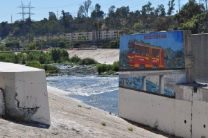 Once electric Red Cars delivered passengers all over L.A., which is celebrated in this riverly mural. (Barbara Burns)