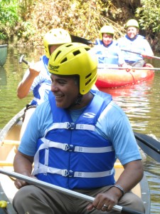 AHOY, MATEY: Councilmembers Tony Cardenas, front, with Ed Reyes, far rear, enjoyed a day on the river last summer. (Jim Burns)