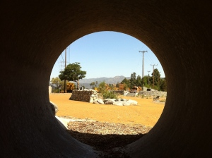 Bird's eye view: Inside a storm drain, safe for kids, one of the many improvements made at the North Atwater Creek Pocket Park. (Jim Burns)
