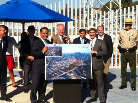 Pushing for the billion-dollar restoration option, from left, are councilmembers Cedillo, LaBonge and O'Farrell. in the center, back, is California State Assemblymember Jimmy Gomez (D., 51st District) (Jim Burns)