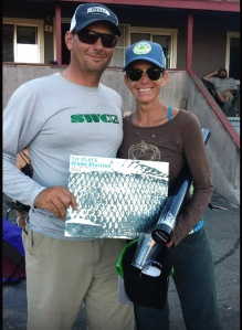 NEXT! Two-time Carp Throw Down champ David Wratchford congratulates this year's winner in the wading division, Amy Barder McMahon.