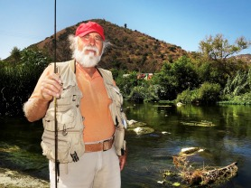 Roland Trevino Sr. cuts a fine profile  at the first Off Tha' Hook fishing derby on the L.A. River on a hot Sept. 6. (L.A. Riverguide)