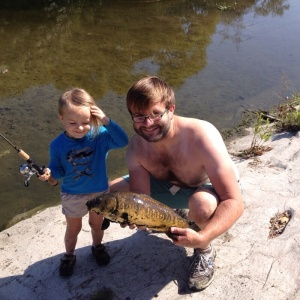 John Tegmeyer and his daughter got more than they bargained for when they caught this beautiful mirror carp. (John Tegmeyer)