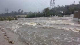 STORM SURGE: today's view from the Glendale Street Bridge. (Ryan Anglin)