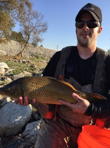 Nick Faught of Corona snagged this 8-pounder, his first carp on the fly. (Jim Burns)