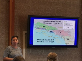 BIOLOGIST Sabrina Drill speaks to the urgency of So. Cal. Steelhead recovery at the Aquarium of the Pacific on Saturday. (Jim Burns