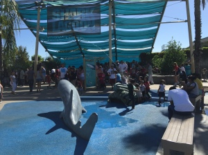 KIDS and their parents take a break in the shade at the aquarium's Shark Lagoon. (Jim Burns)