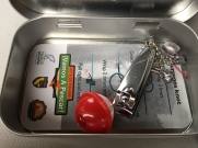Mini-tackle boxes include a waterproof chart on knot tying. (Jim Burns)
